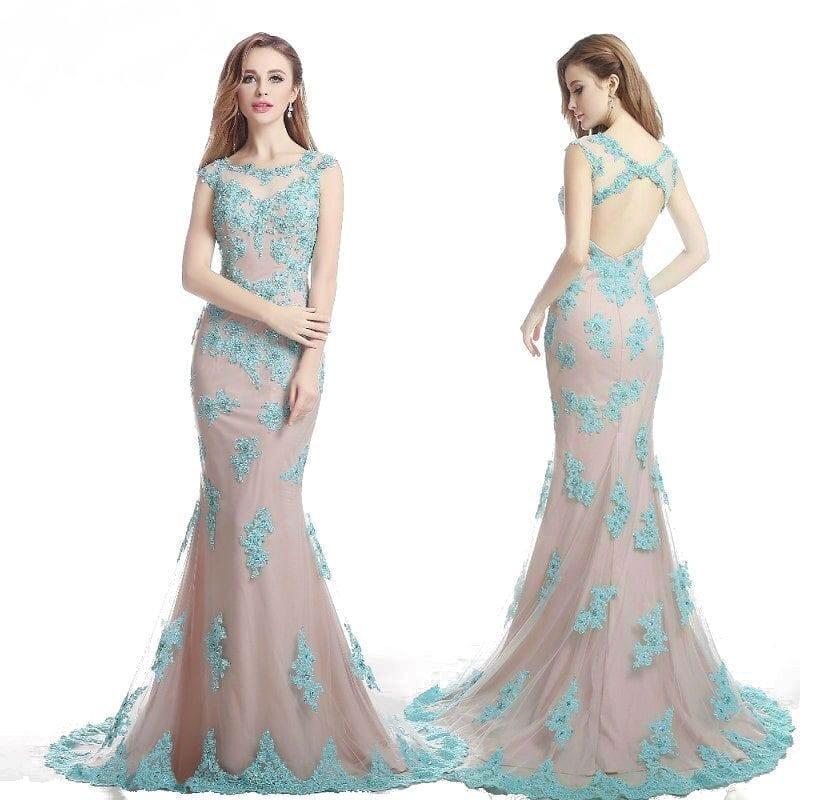 Tulle Applique Cap Sleeve Trumpet Open Back Sequined Long Evening Dress