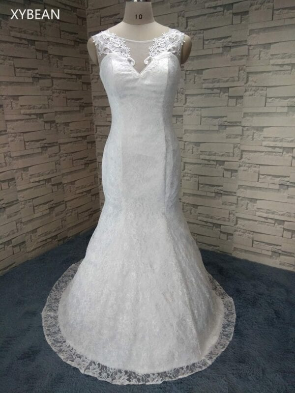 V-neck Court Train Lace Up Back Floor Length Wedding Dress