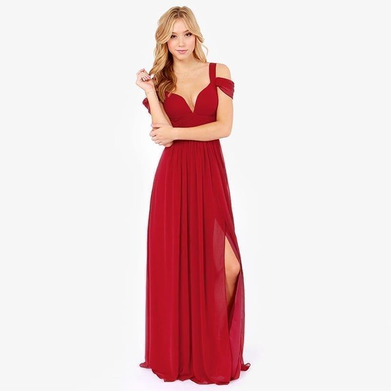Floor Length Solid Side Slit V-neck Off Shoulder Gown Dress