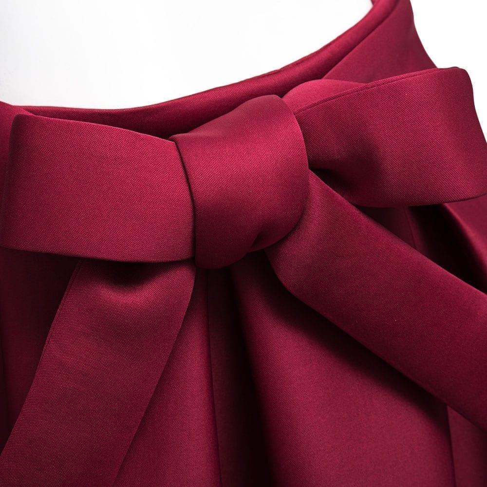 Elegant Vintage High Waist Pleated Long Midi A-line Big Bow Side Zipper Skater Skirt