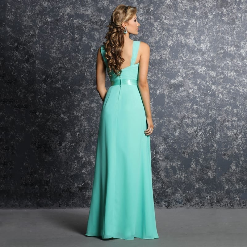 Elegant Bright Green Pleated Chiffon A-line Long Bridesmaid Dresses