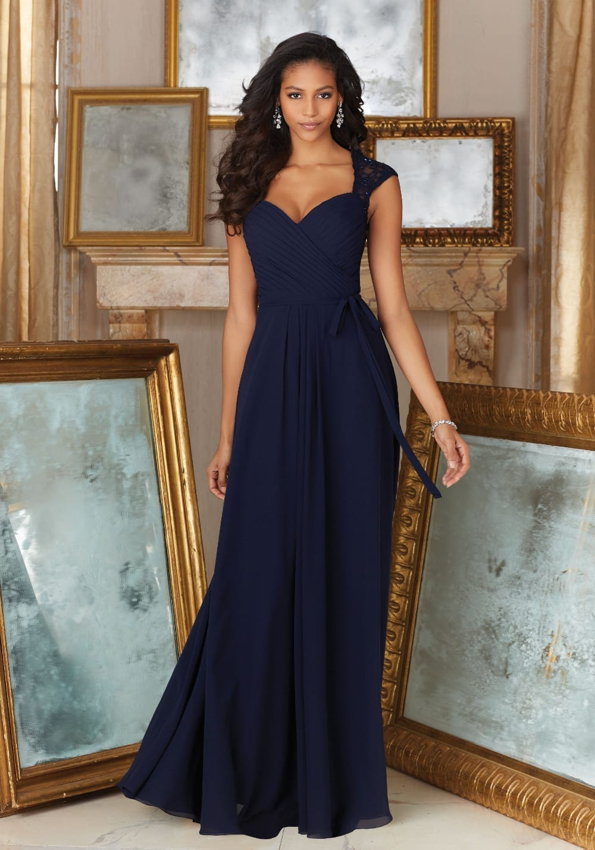 Chiffon Lace Sashes Pleat Sweetheart Formal Bridesmaid Dress