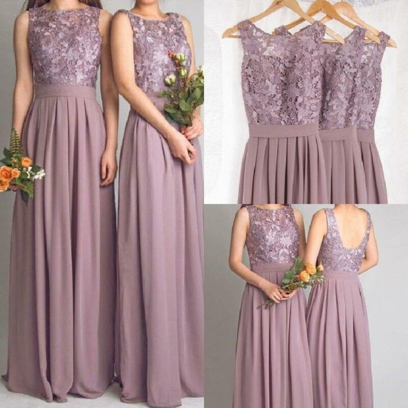 Elegant Sleeveless Long Chiffon Lace Bridesmaid Dress