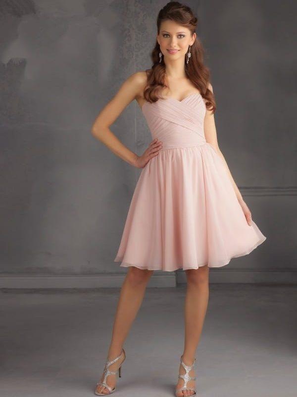 Short Chiffon Blush Pink Knee Length Bridesmaid Dress
