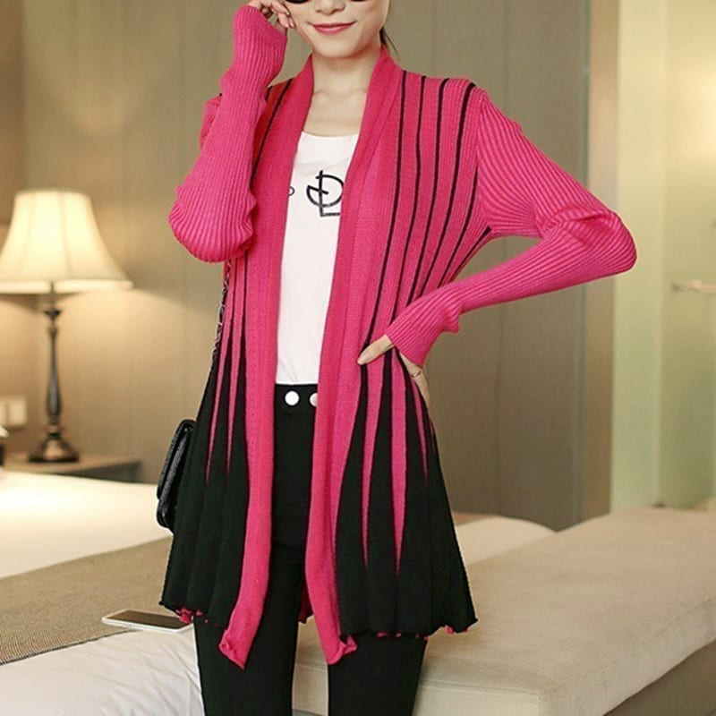 Stripes Print Long Sleeve Knitting Sweater Cardigan