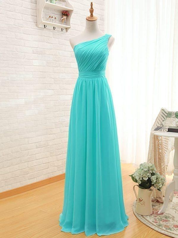 Elegant One Shoulder Pleated A-line Long Chiffon Turquoise Bridesmaid Dress