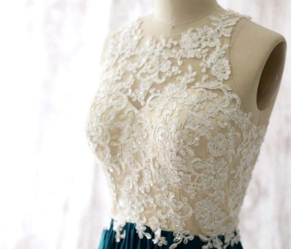 Chiffon Lace Appliques Beaded Criss-cross Straps Long Elegant Bridesmaid Dress