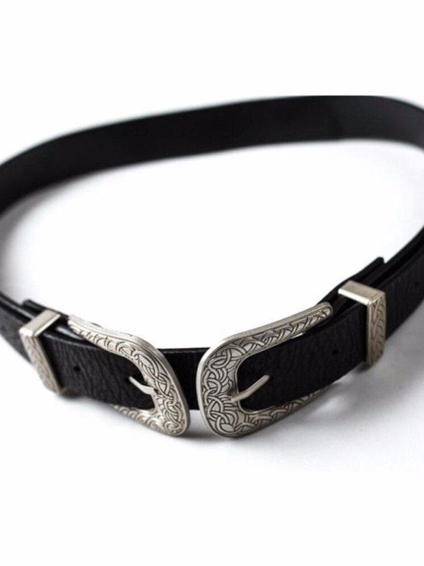 Double Clasp Buckle Pu Metal Waistband Women Belt