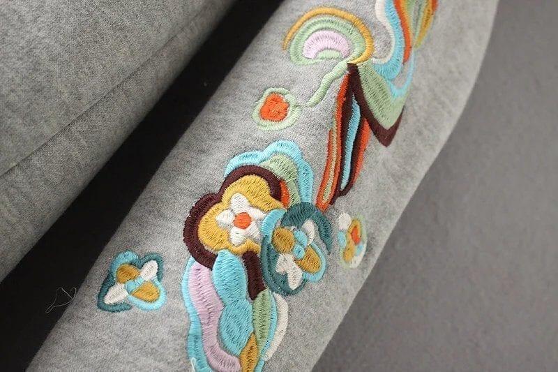 Embroidery Long Sleeve Loose Sweatshirt Dress