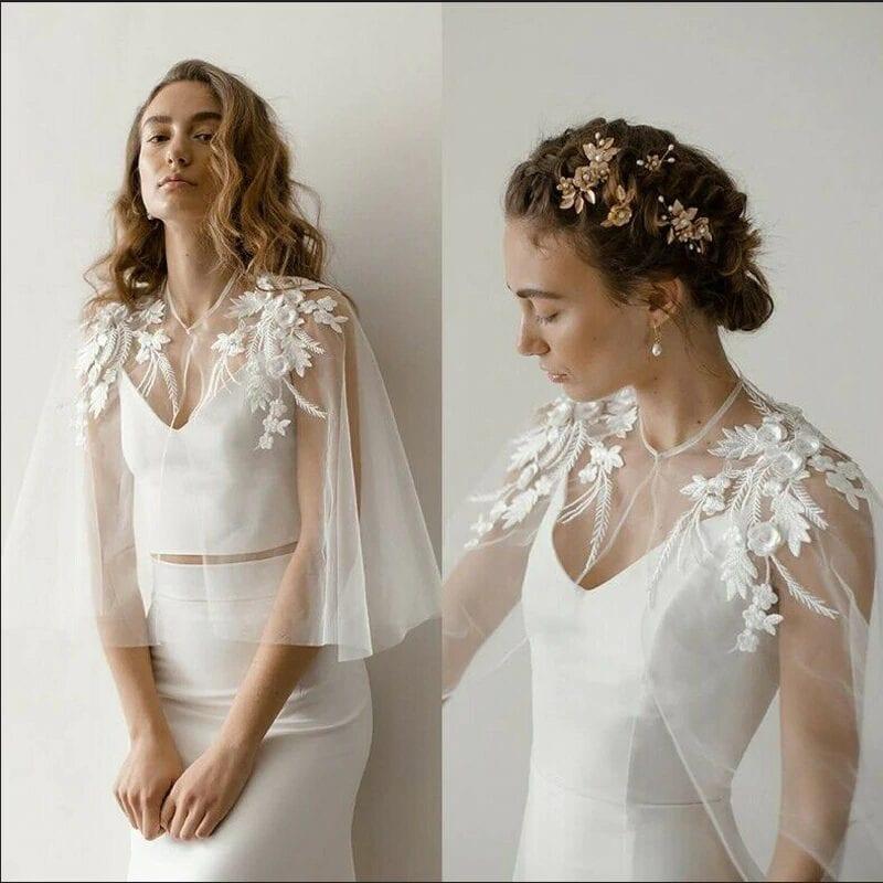 Soft Tulle Shoulder Appliques Lace Bridal Wedding Cape Bolero Jacket