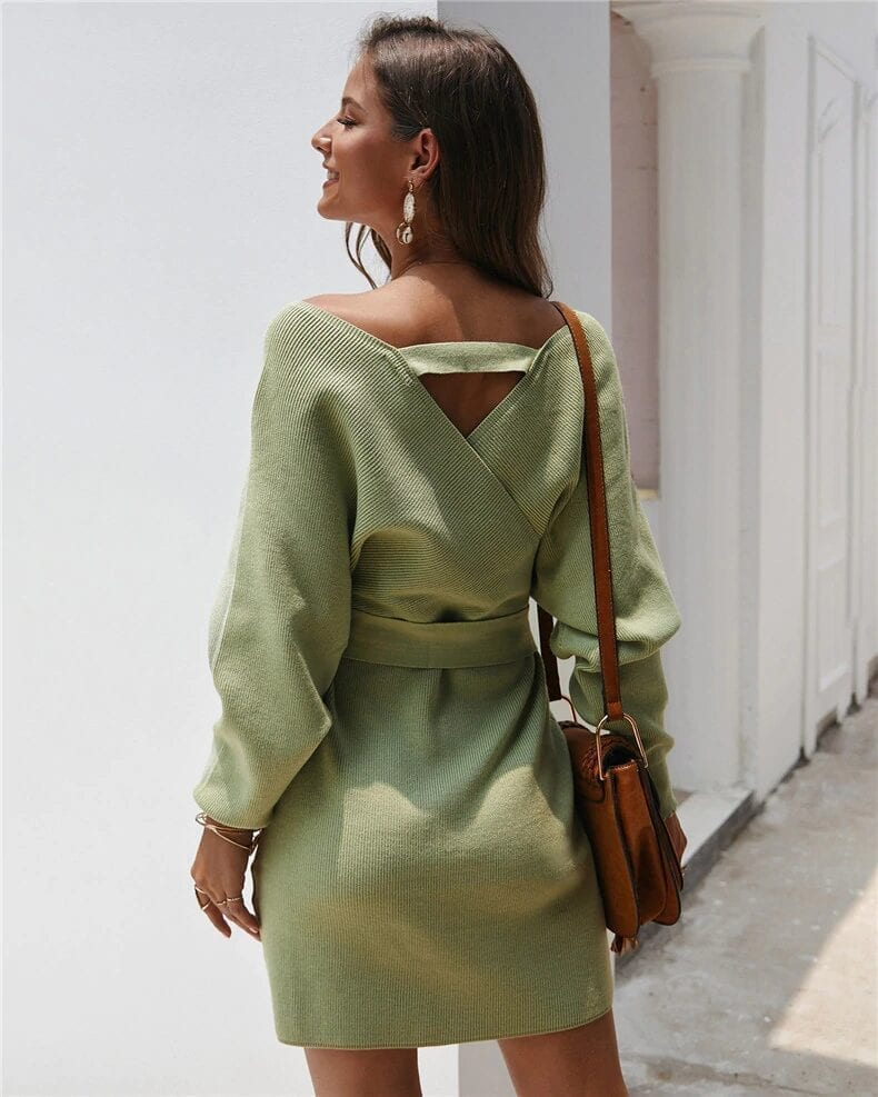 Long Sleeve Sashes Tied Knitted Wrap Sweater Dress