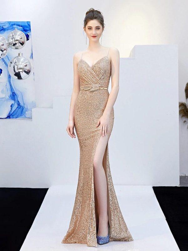 V-neck Split Zipper Backless Sashes Bridesmaid Dress