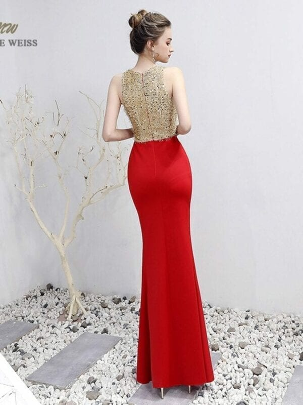 V-neck Beading Floor-length Mermaid Prom Dress