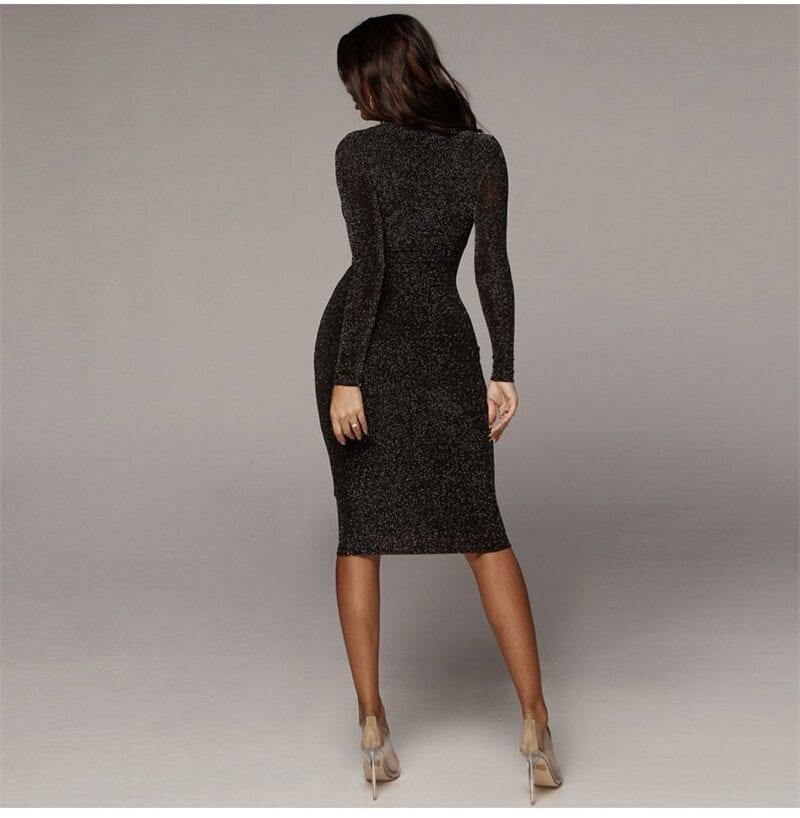 Shining Long Sleeve Midi Dress