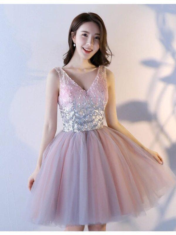 Pink A-line Sequined Knee-length Princess Bridesmaid Dress