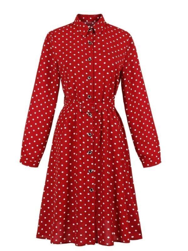 Vintage Long Sleeve Polka Dots Print Button Up Shirt Swing Dress