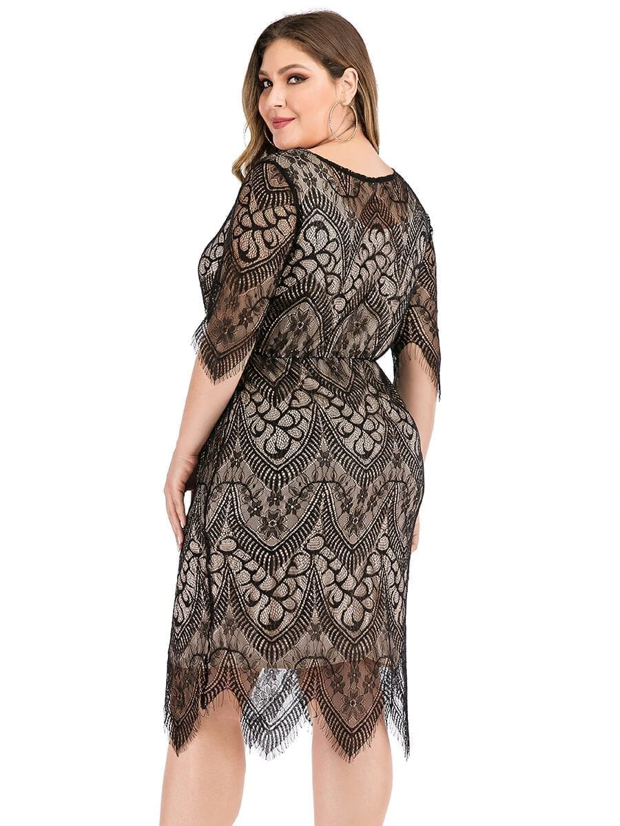 Elegant O Neck Half Sleeve Lace Floral Midi Dress Plus Size