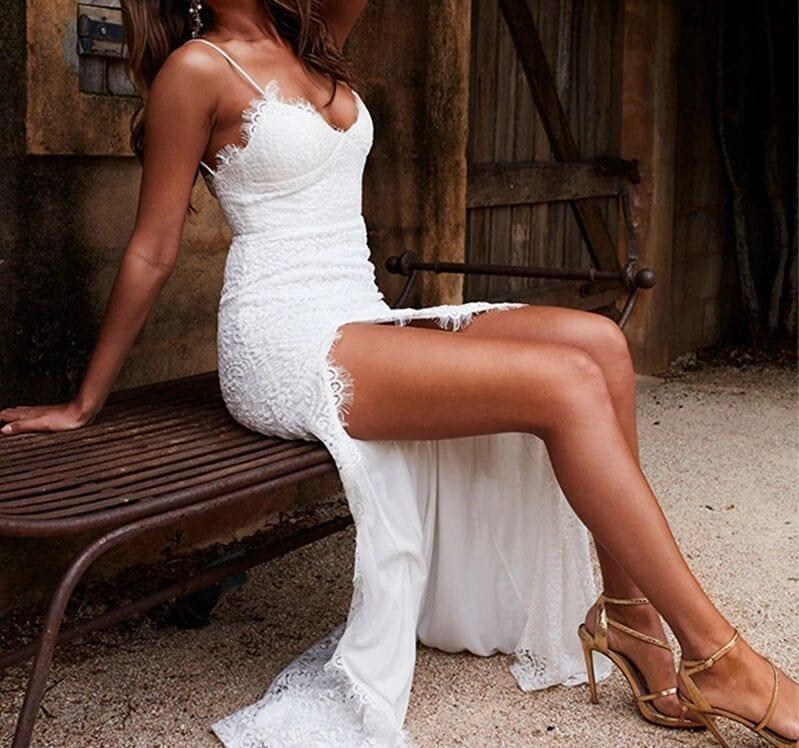 Elegant Backless Strapless Spaghetti High Split White Lace Dress