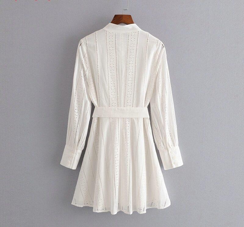 Embroidery Long Sleeve White Shirt Dress