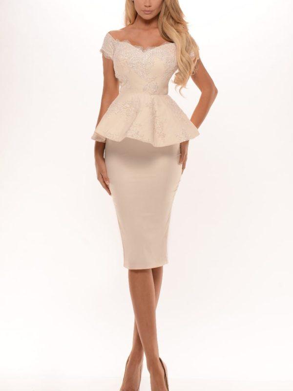 Beaded Lace Appliques Short Knee Length Off The Shoulder Peplum Bridesmaid Dress