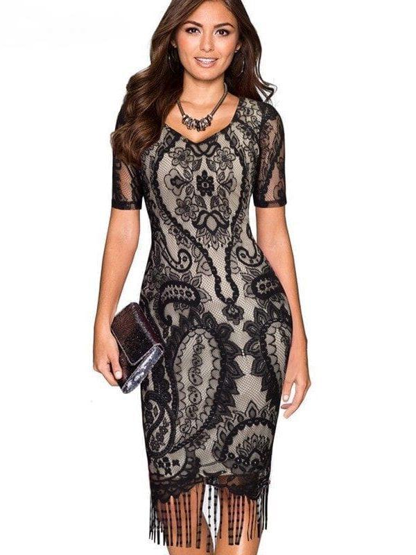 Lace Tassel V-neck Short Sleeve Zipper Pencil Vintage Dress