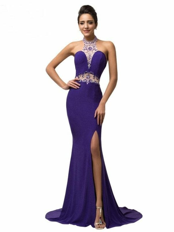 Elegant Micro-fiber Halter Mermaid Purple Floor Length Sequins Beading Prom Dress