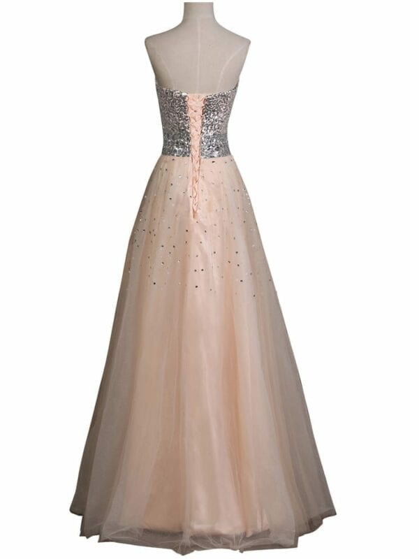 Apricot Sequins Long Elegant Strapless Tulle Floor Length Evening Prom Dress
