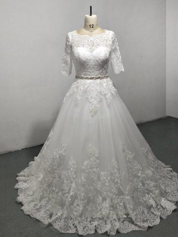 Elegant A-line Lace Beading Floor Length Wedding Dress