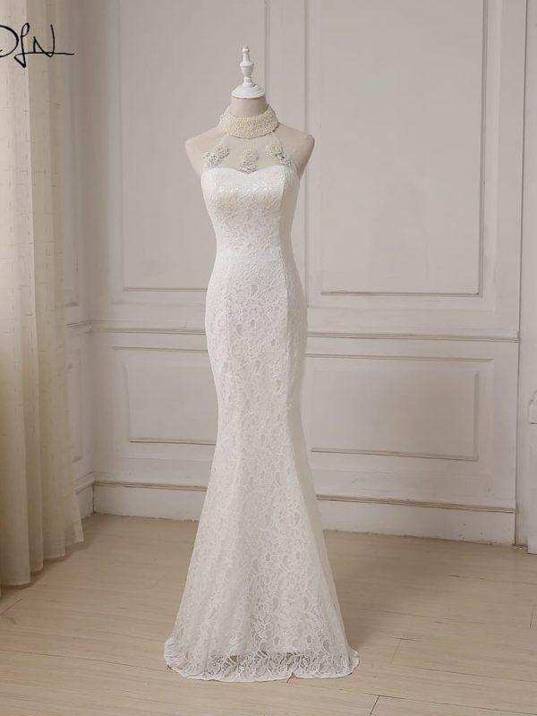 Halter Sleeveless Pearls Beading Mermaid Lace Wedding Dress