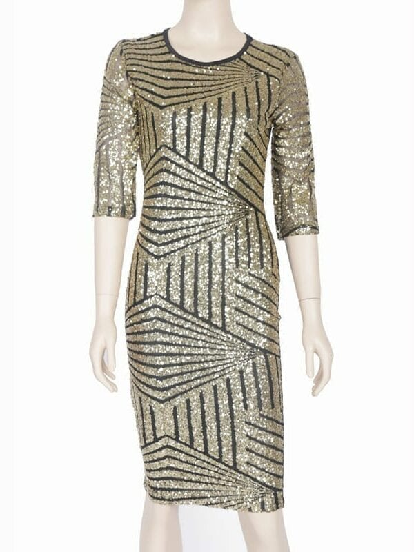 Geometric Golden Sequin Bodycon Pencil Evening Party Dress