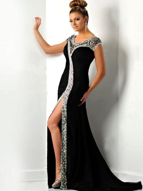 Original O-neck Cap Sleeve Crystal Slit Mermaid Long Evening Dress
