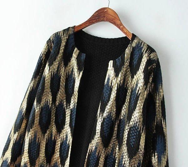 Peacock Printing Knitting Long Cardigan Sweater