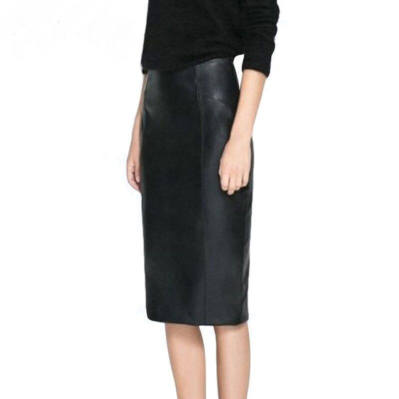 Black Leather Empire Waist Zipper Pencil Bodycon Office Skirt