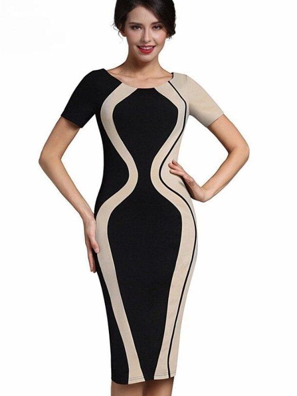 Elegant Patchwork Short Sleeve O-neck Bodycon Office Pencil Dress
