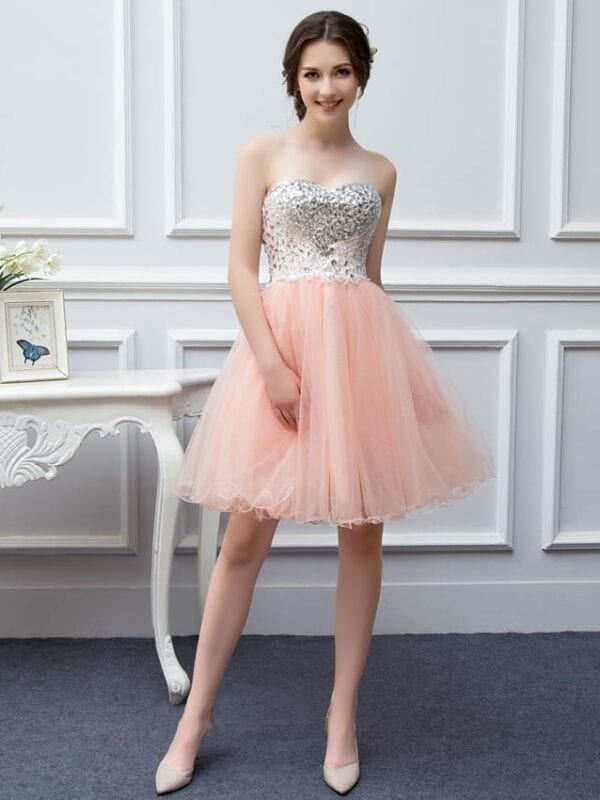 Sweetheart Tulle Beaded Short Coral-peach Prom Dress