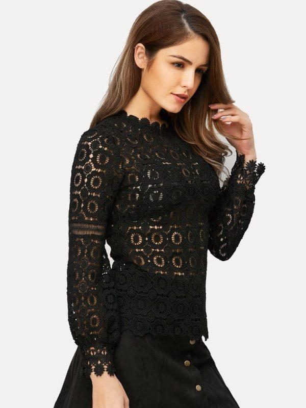 Vintage Black White Floral Lace Hollow Out Crochet Long Sleeve Blouse Shirt