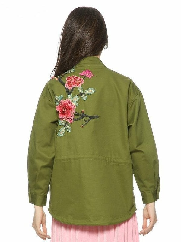 Army Green Floral Embroidery Patched Rivet Design Flight Jacket