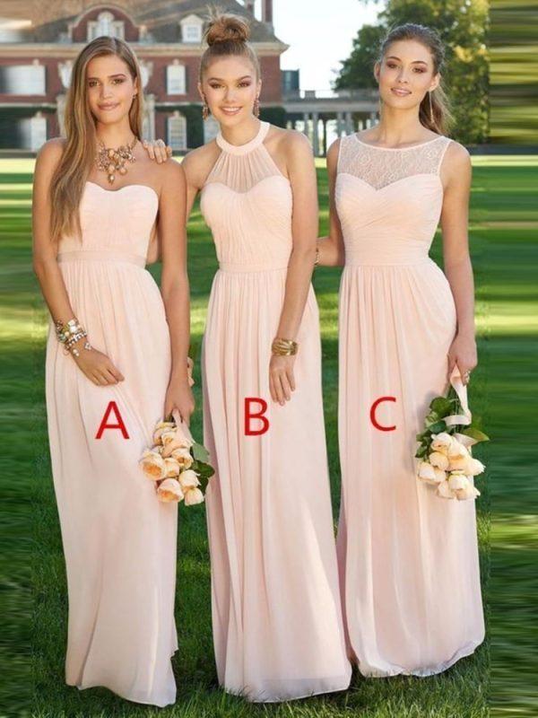 A-line Floor Length Pink Bridesmaid Dress