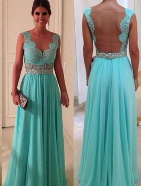 Sheer Neck Back See Through Turquoise Long Bridesmaid Dress