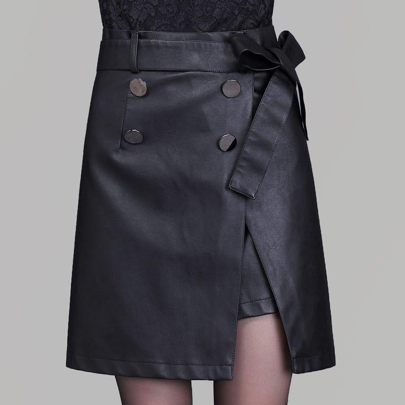 High Waist Black A-line Double-breasted Mini Skirt