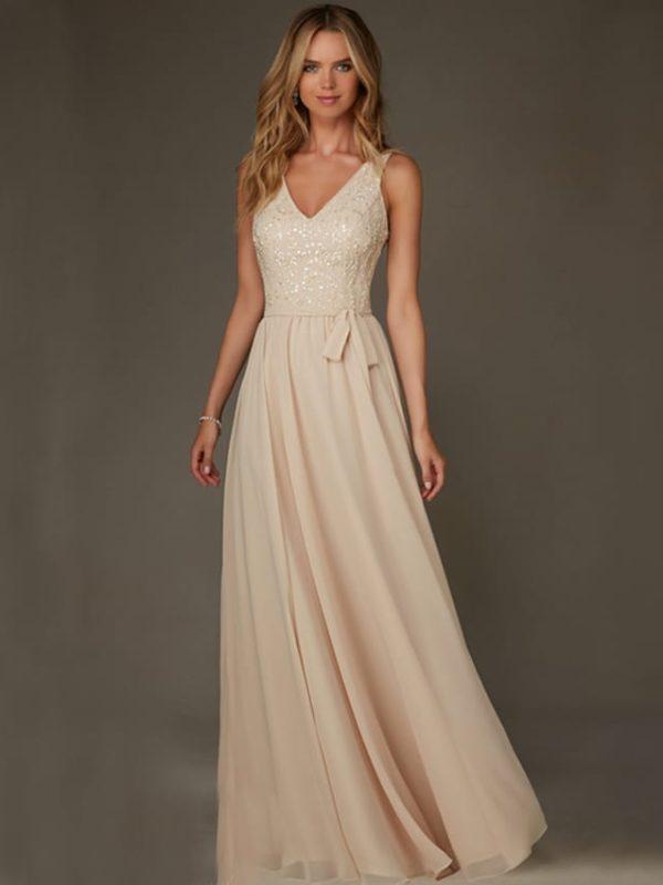 Champange Long A-line V-neck Spaghetti Straps Beading Sequin Bridesmaid Dress