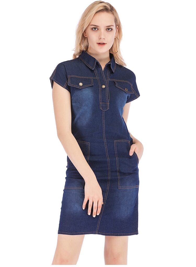 Loose Buttons Short Sleeve Blue Denim Dress
