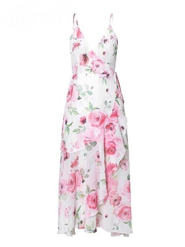 Sleeveless Floral Print V-neck Ruffle Chiffon Asymmetric Dress