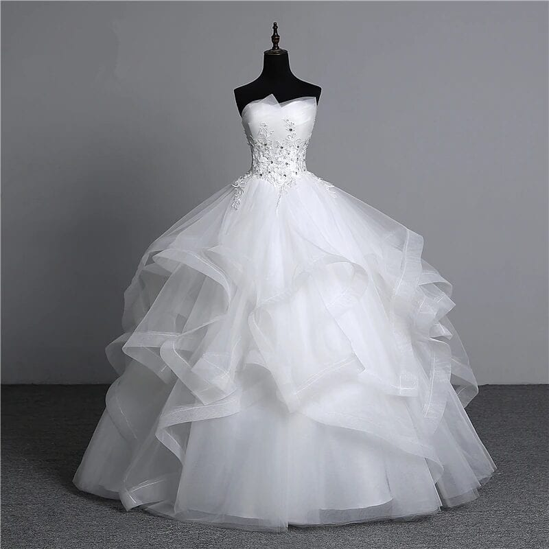 Appliques Pearls Strapless Ball Gown Wedding Dress
