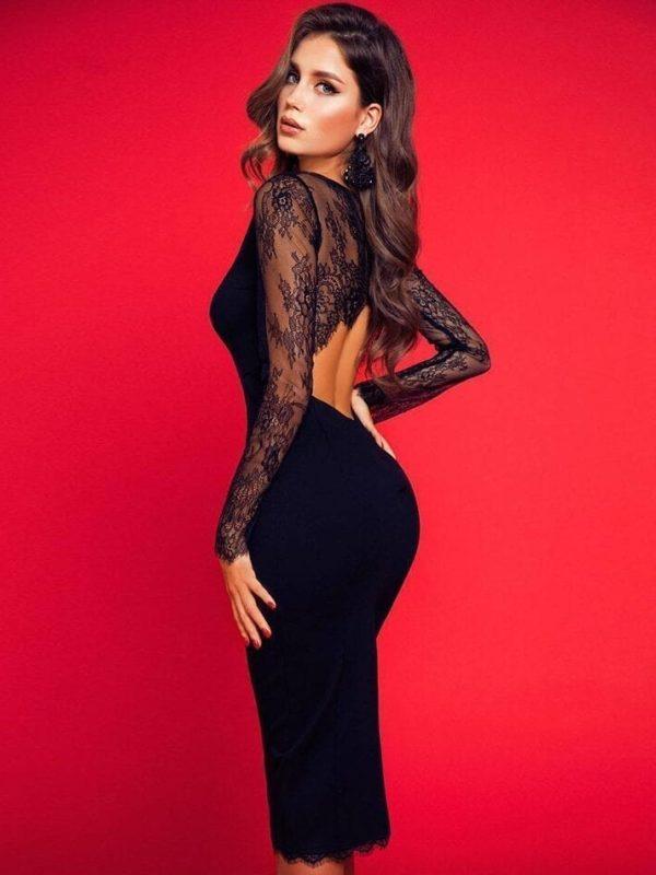Black Lace Elegant Long Sleeve Bandage Dress
