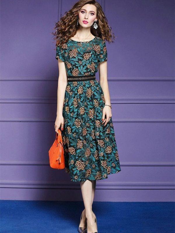 Elegant Vintage Lace Office Floral A-line Dress