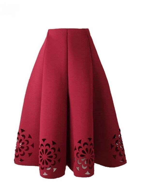 Elegant Vintage Floral Crochet High Waist A-line Zipper Midi Skirt