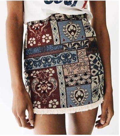 High Waist Chic Boho Fringe Bodycon Skirt