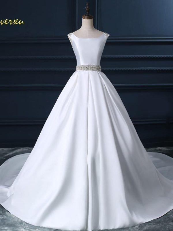 Satin Beaded Sashes Pearls A-line Wedding Dress