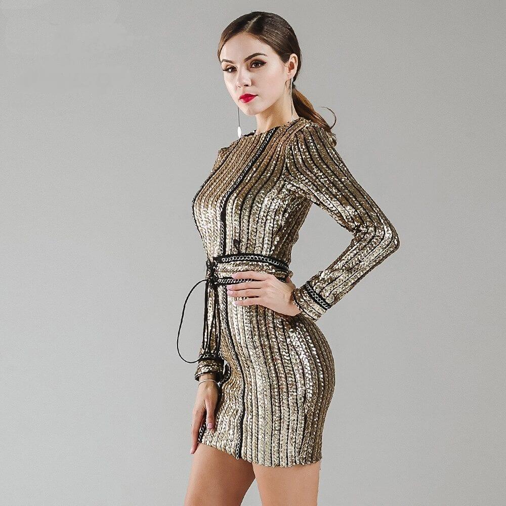 O-neck Long Sleeve Sequin Belt Rope Dress